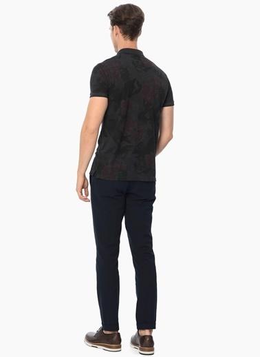 Network Desenli Slim Fit Polo Yaka Tişört Antrasit